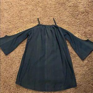 Umgee blue jean cold shoulder dress